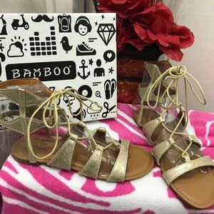 Bamboo gold gladiator sandals 👡